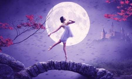 Lovely Dancer - moon, purple, Softness, digital, ballet, Enchanting, dancer, softness, beauty