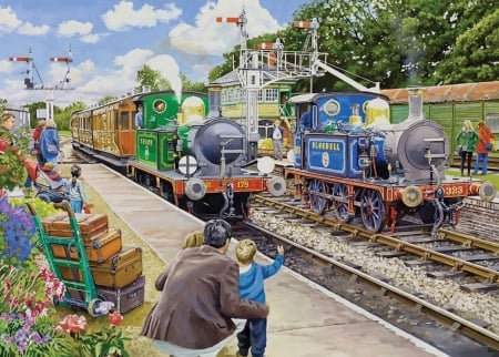 Horsted Keynes on The Bluebell Railway - luggage, railway, signals, painting, station, platform, steam, engines
