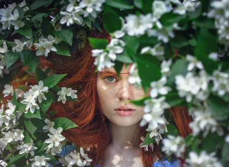 Pretty girl - flowers, summer, nature, white, pretty, female, woman, jasmine, photography, red-hair, girl
