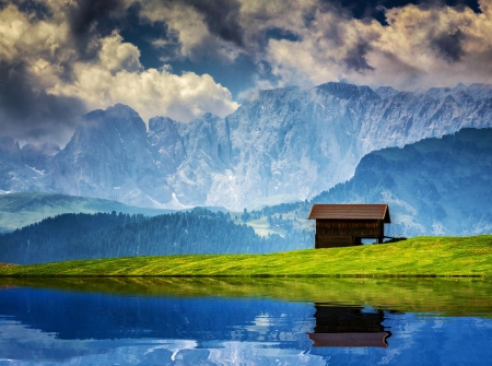 Alpe di Siusi, Dolomites, Italy - cabin, river, reflection, alps, sky