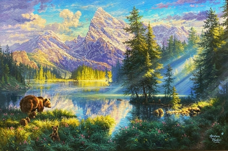Mountain Morning - painting, bears, trees, reflections, sky, lake, pups, artwork