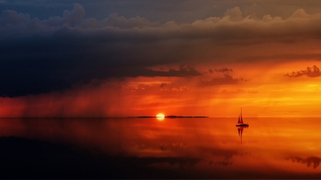 Bright Sunset - tranquil, boat, ocean, sunset, sky, sailboat, sail, sea, Firefox theme