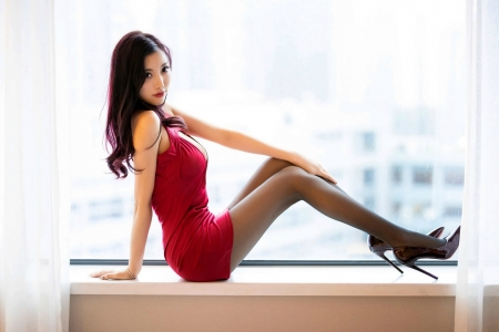 Pretty Girl in a Red Dress - brunette, high heels, dress, model