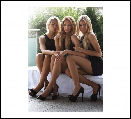 Beauty Times Three - Black Dress, White Bench, High Heels, Blonde, Beauty