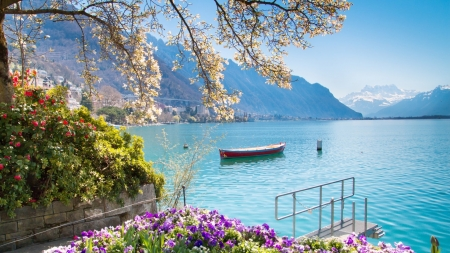 Montreux Lake in Switzerland - Flowers, Blue sky, Purple, Boat, Red, Hillside, view, Dock, White, Nature, Water, Mountains, Lake