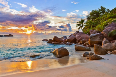 Rest in Seychelles - rest, vacation, ocean, beautiful, sunset, palms, sea, beach, sand, Seychelles, stones, paradise, summer, sunrise, reflection, tropics, island