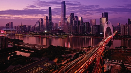 Guanzhou China - City, Arch, Purple, Highway, Sky, Orange, Roadways, Water, Reflection, Buildings, Clouds, Lights, Cityscape