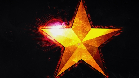 Star with Flair - red, gold, texture, lens flair, background, black, abstract, star
