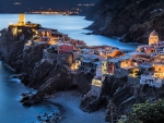 Vernazza City In Italy On The Cliffs Of Cinque Terre