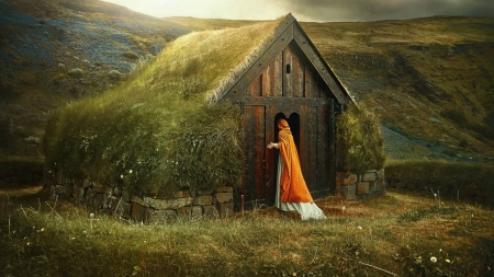 Are you there - house, fields, nature, woman