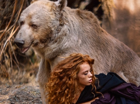 My Friend - bear, nature, woman, animal