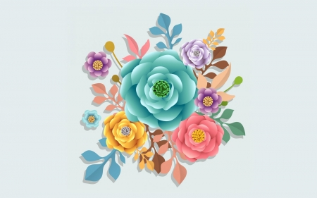 Colorful Flowers - art, colors, flowers, vector