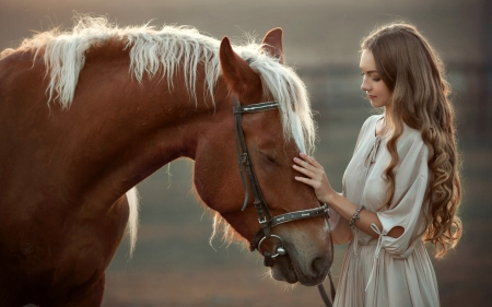 Best Friends Forever - dress, horse, bruntte, model