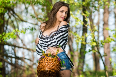Mila Azul Picking Flowers - flowers, brunette, model, shorts