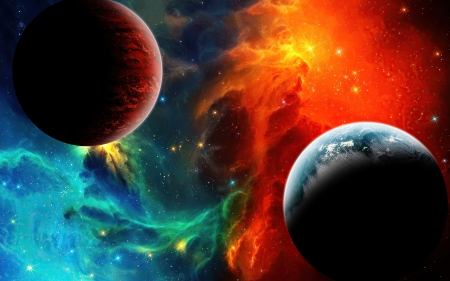 Colorful Nebula Space - galaxies, nebula, space, colorful, planets, 3d