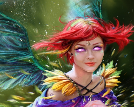 Angel - girl, redhead, luminos, angel, face, frumusete, emmagucci art, superb, fantasy, gorgeous