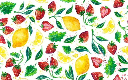 Texture - summer, yellow, fruitstrawberry, red, strawberry, leaf, lemon, fruit, capsuni, alexandra franzese, vara, green, texture