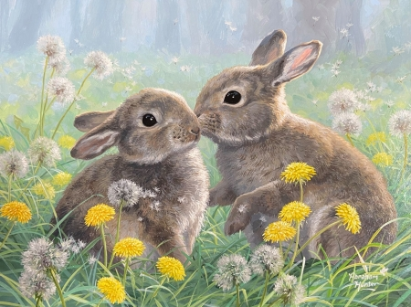 Bunny's love - flowers, rabbits, artwork, meadow, painting
