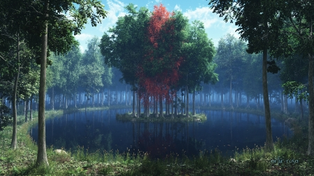 Forest - trees, lake, forest, 3D, graphics, island, nature
