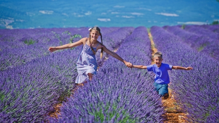 Joy - fields, nature, people, lavandula, children