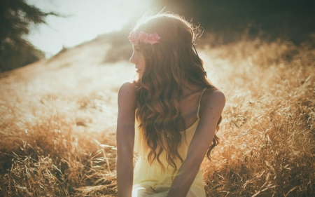 Summer Glow - tree, grass, Summer, girl, model, sunshine, flower wreath, field, beautiful
