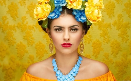Style - girl, earrings, photography, flowers, face, fashion, style