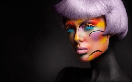 Portrait - colourful, fashion, makeup, model, hairstyle, portrait