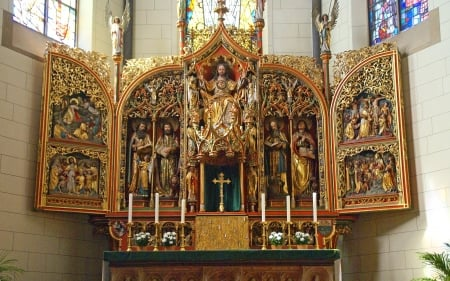 Sacred Heart Altar - altar, Heart, Germany, Saints, church, angels, Jesus