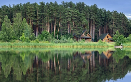 By Lake in Latvia - cabins, lake, forest, calm, Latvia, reflection