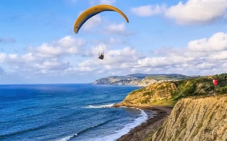 Paragliding over Coast - clouds, paraglider, sea, coast, Spain
