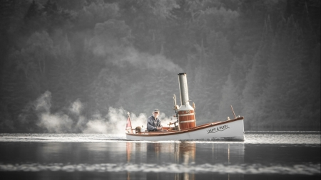 huff and puff - man, boat, water, mist, sailor