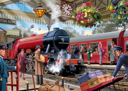 A Lovers Welcome - luggage, trains, love, platform, painting, steam, clock, vintage