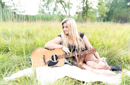 Playing In A Field - guitar, cowgirl, field, blondes, ranch