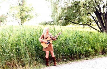 Guitar Road - boots, guitar, blondes, cowgirls, ranch