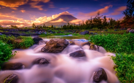 Sunset at Mount Mayon, The Daraga, Philippines - sunlight, rocks, mountain, river, volcano, clouds, landscape