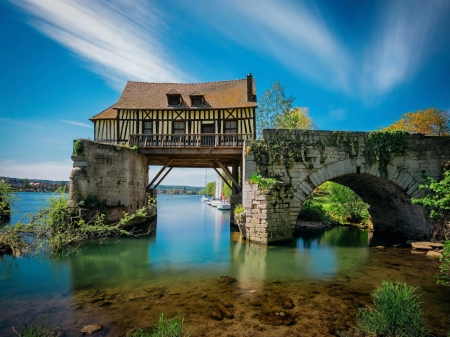 The Old Mill - Le Vieux Moulin, Vernon, Normandie - river, sky, cottage, wall, clouds