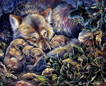 Wolves Family - painting, mother, sweet, pups