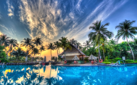 Sunset Pool - colors, house, sky, palms, water
