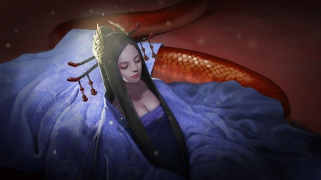 Red Snake - asian, sang lee, red snake, blue, view from the top, frumusete, luminos, superb, fantasy, girl, gorgeous