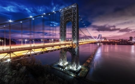 bridge - city, new york, night, lights, river