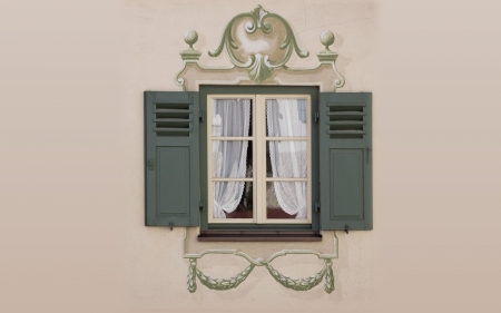 Window with Decor - painted, shutters, window, decor