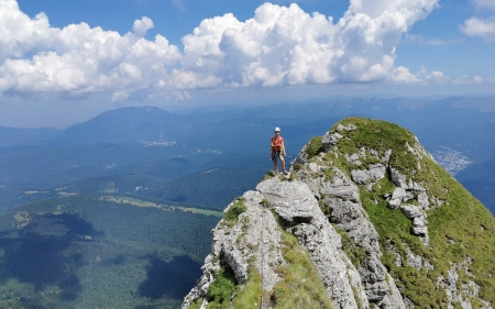 On Mountain's Top - top, clouds, Romania, mountain, woman, landscape