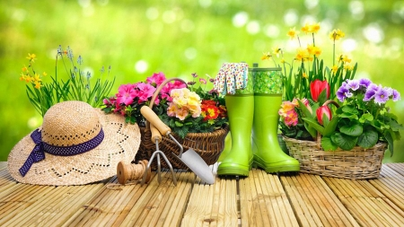 Summer Gardening - flowers, terrace, shoes, hat, colors