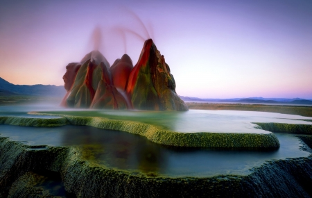 The Fly Geyser - water, Washoe county, fly Geyser, rock tower, nature, Black rock desert, Northwest Nevada