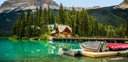Emerald Lake Lodge, Yoho National Park - pier, canada, forest, alberta, boats, mountains