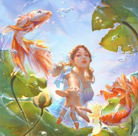 Lotus pond - fantasy, vara, water, girl, green, flower, hand, summer, lotus, orange, fish, view from down, view frm down, shuhang ye, superb, pesti, gorgeous, frumusete, luminos, detail, lake, pond