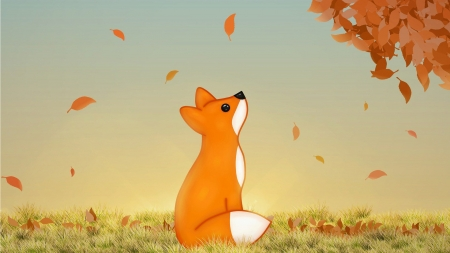 Watching Leaves Fall - fall, leaves, tree, autumn, grass, Firefox, fox, wild