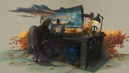 my work place - computer, tablet, lamp, clouds, lights, drawing