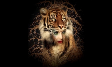 The Tiger Within Her - fantasy, fantasy girl, Abstract, awesome, tiger, digital art, woman, animal
