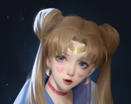 Sailor Moon - luminos, fufufu, girl, anime, sailor moon, manga, face, frumusete, fantasy, heart